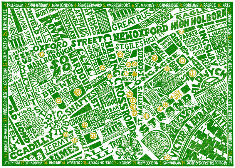 Theatre District Map for The Ivy Market Grill James Lewis Illustration